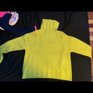 True Craft lime green turtleneck sweater